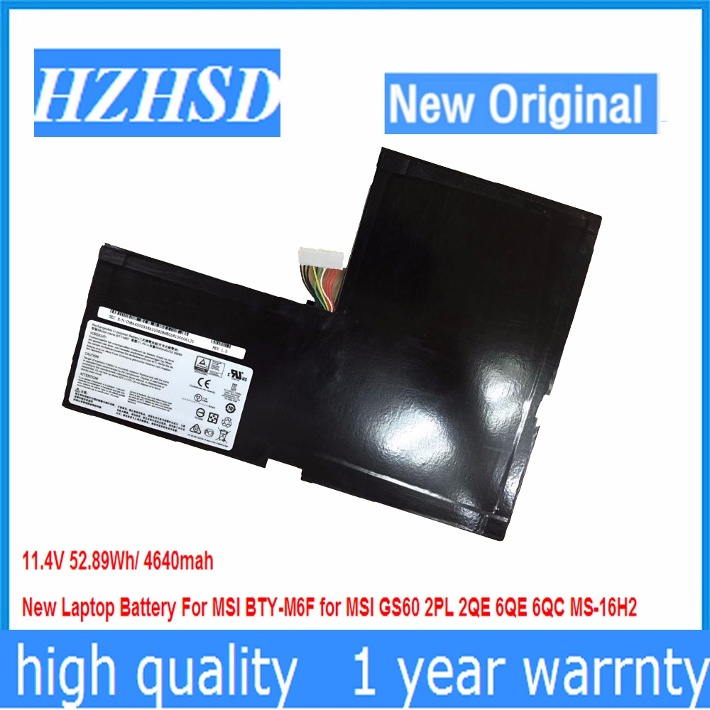11.4V 52.89Wh/4640MAH New Original BTY-M6F Laptop Battery For MSI GS60 2PL 2QE 6QE 6QC MS-16H2
