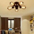 Современный промышленный новый потолочный светильник светодиодный E27 простой черный железный потолочный светильник для гостиной спальни ...