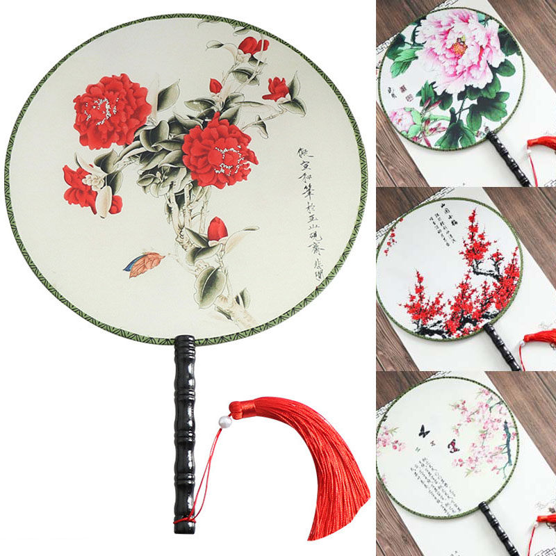 Hand Held Embroidery Chinese Style Vintage Round Fans Double-sided Classical Fan Silk Female Embroidery Flower Fan Dance Prop