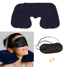 2019 New U-Shape Neck Pillow Travel Flight Car Inflatable U Rest Air Cushion+ Eye Mask + Earbuds LST