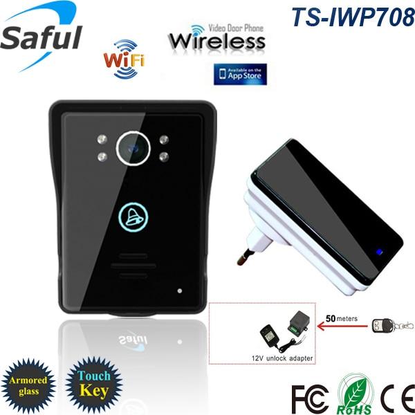 2016 the newest wireless wifi touch key video door phone ip intercom doorbell with function of door unlocking and recording