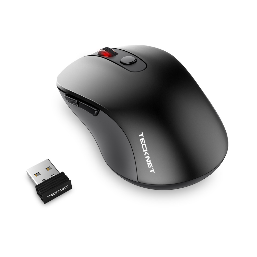 TeckNet PURE 2.4G Wireless Mouse 6 Buttons PC mouse DPI Levels 1600/1200/800dP Nano Receiver For Computer PC Laptop Desktop