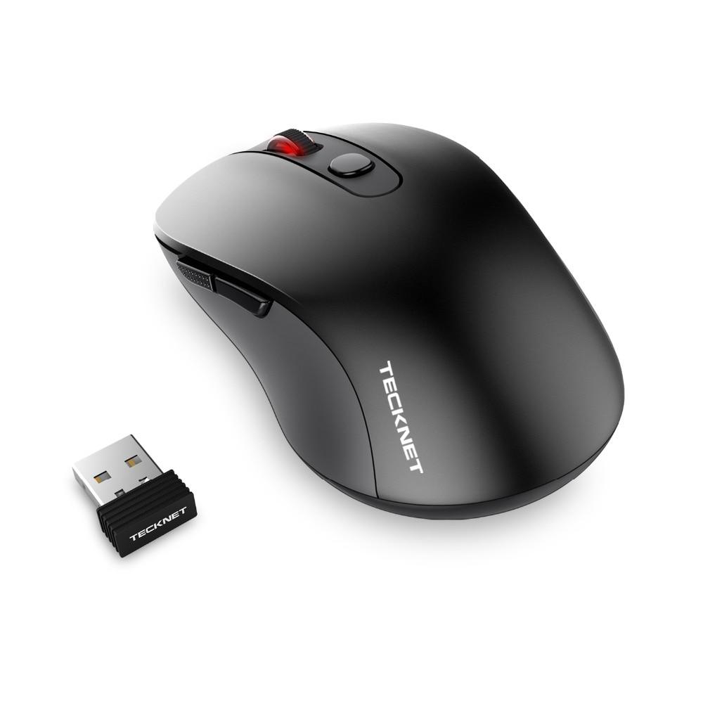 TeckNet PURE 2.4G Wireless Mouse 6 Buttons PC mouse DPI Levels 1600/1200/800dP Nano Receiver For Computer PC Laptop Desktop