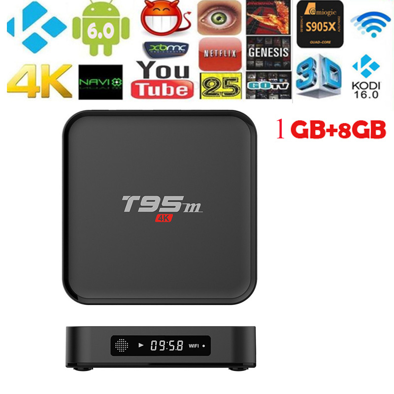 T95M TV Android 6.0 Wifi 8 GB Amlogic S805 quad core 2.4G 4K 3D Ethernet 100M With remote control Set Top Box