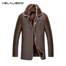 VELALISCIO 2017 Winter New Fashion Mens Leather Jackets Man Fur Lining Wool PU Leather Jacket Warm Men Suede Leathe