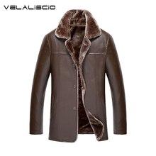 VELALISCIO 2017 Winter New Fashion Mens Leather Jackets Man Fur Lining Wool PU Leather Jacket Warm Men Suede Leathe