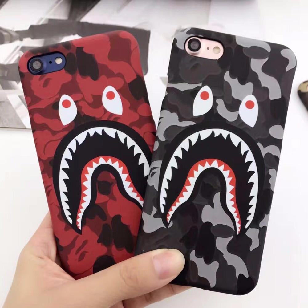 Estilo caliente de la manera case para iphone 7 6 6 s plus bape aape tiburón ejé