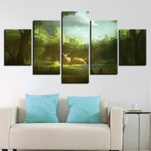 Printing Animal Paintings Decor Room Wall Art 5 Pieces Deer Couple In The Forest Sunshine Scenery Canvas Pictures Modular Poster