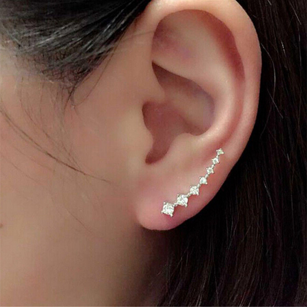1Pair Rhinestone Crystal Earrings Ear Hook Stud Jewelry Sliver золотые серьги по уху