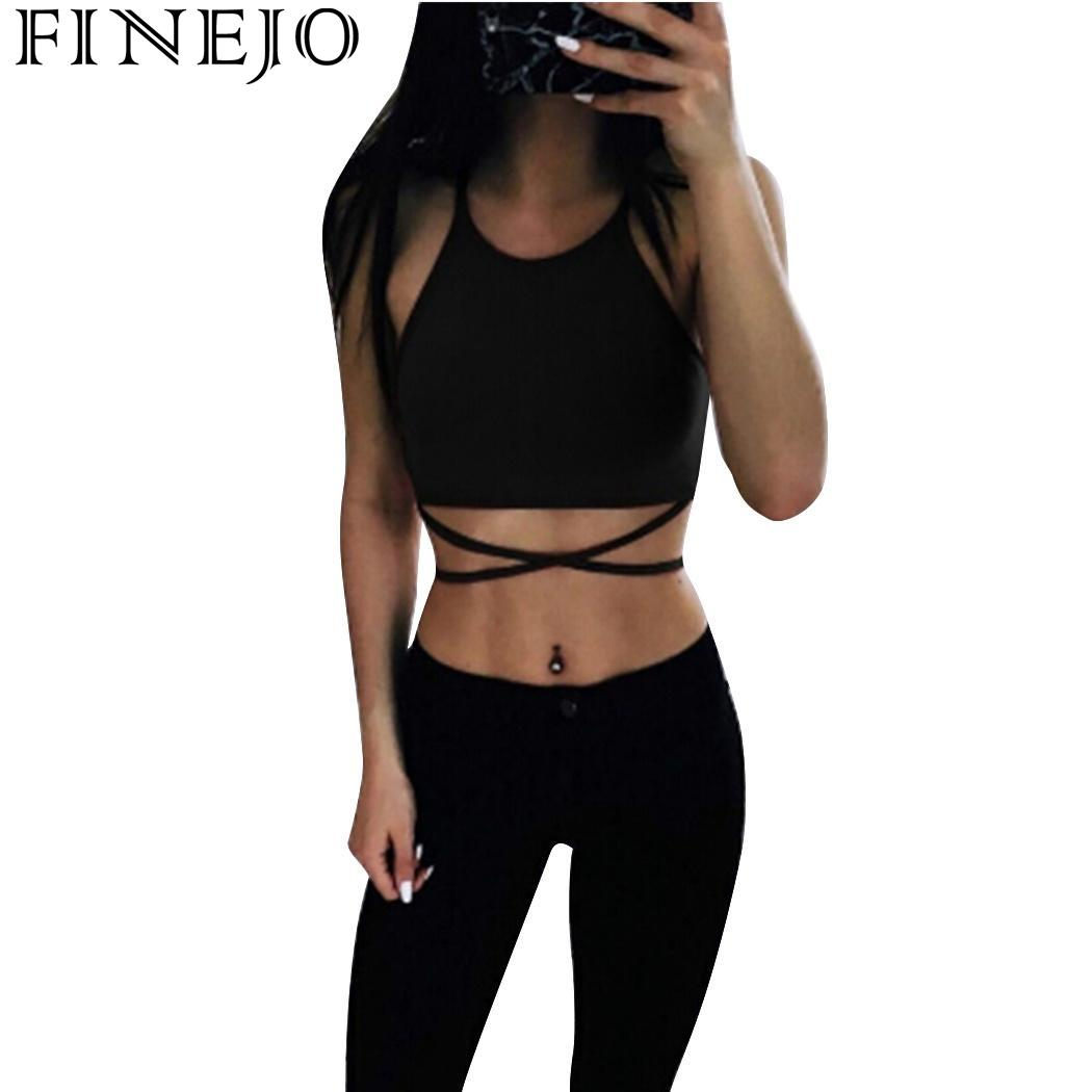 FINEJO Fashion Ladies Summer Casual Sleeveless Bandage Hollow Out Slim Vest T-shirt Camis Gilet Sexy Women   Tank     Tops
