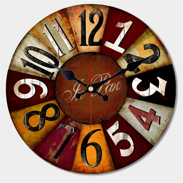 Artistic Silent Retro Wall Clock European Style Round Colorful Vintage Saat Decorative Wooden Large Wall Clock Christmas Gift