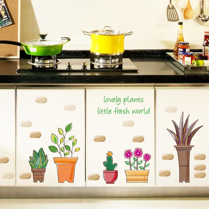 Küche Aufkleber | Topfpflanzen Wandaufkleber Schrank Glas Fenster Wandaufkleber