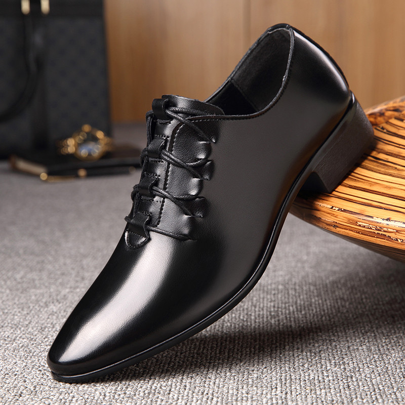 OSCO Fashion Leather Mens Dress Shoes Formal Business Male Shoes Classic Slip On Pointed Toe Low Heel Party Footwear autumn new fashion mens genuine leather cow pointed toe slip on hot sale formal shoes dress shoes male tassel low heel plus size