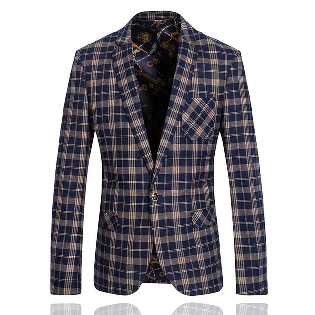 2015 chegada nova estilo britânico de homens de poliéster de viscose xadrez jaqueta blazer ocasional vestido de casamento frete grátis plus - tamanho M-3XL