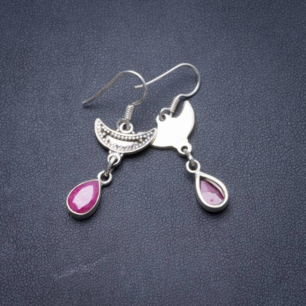 Natural Cherry Ruby Handmade Unique 925 Sterling Silver Earrings 1.5 Y3825 цена
