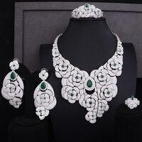 GODKI 105MM Flower Boom Cluster Luxury Women Bridal Cubic Zirconia Ring Bangle Necklace Earring Dubai Jewelry Set Jewellery