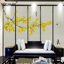 цены Wallpapers YOUMAN 3 d Custom Modern Photo Wallpaper Ginkgo Biloba Wallpaper Yellow Wall Papers Mural Home Decor Flower Decor