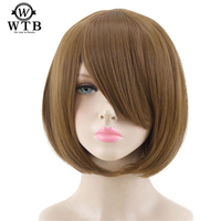 WTB 23 color 14 short Straight Wig brown white blue red high temperature fiber Synthetic Wigs Costume Party Cosplay Wig