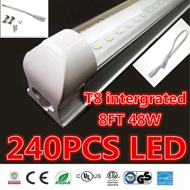 25pcs 8ft led tube t8 intergrated 2400mm 48w led tube light 240pcs smd2835 ac85-277v led fluorescent tube bulbs tubes lamp