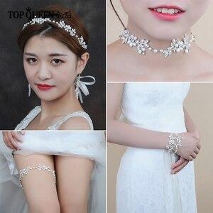 Image 5 - TOPQUEEN HP152 ślubne dla nowożeńców z pałąkiem na głowę opaska do włosów Tiara dla kobiet Rhinestone pereł stop kwiat biżuteria akcesoria do włosów