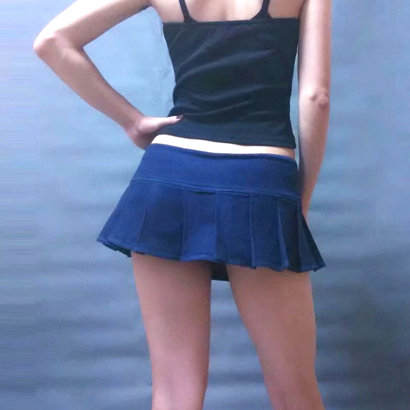 Sexy Women Plus Size Pleated Micro Mini Jeans Skirt Button Stage Dance Skirt Low Rise Waist Open Crotch Skirt With Bottom Wear