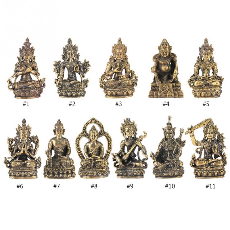 1 piezas latón pequeña estatua de Buda tallado a mano estatuilla manualidades adornos decorativos de Buda