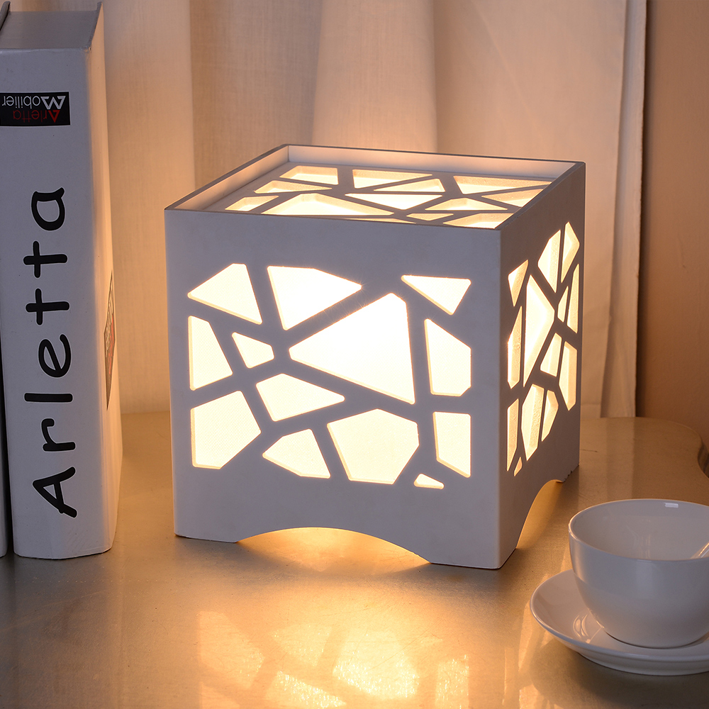 Small table lamps for bedroom - Fashion Small Table Lamp Night Light Bedside Light Carved Decoration Modern Aesthetic Decoration Square Lamp