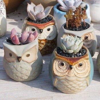 Cute Mini Ceramic Decorative Owl Flower Pots