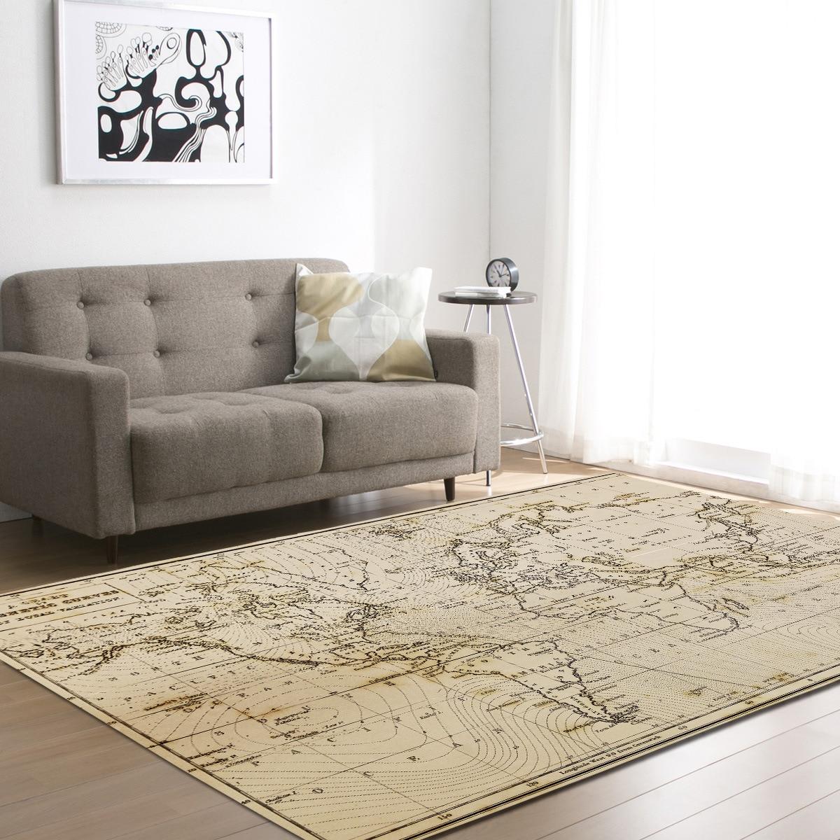 Zeegle World Map Floor Mat Carpets For Living Room Anti Slip
