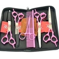 7.0 Meisha Dogs Grooming Scissors Set with Comb Pet Curved Cutting Clipper Japanese Steel 18 Teeth Hair Thinning Shears HB0078