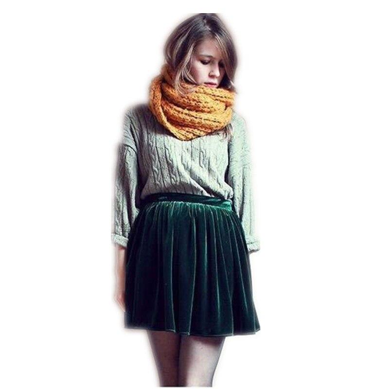 Женская цветная бархатная широкая юбка