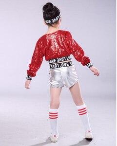 Image 5 - 赤子供子供スパンコールヒップホップダンス衣装キラキラステージジャズダンス衣装スーツ女の子クロップトップとパンツ