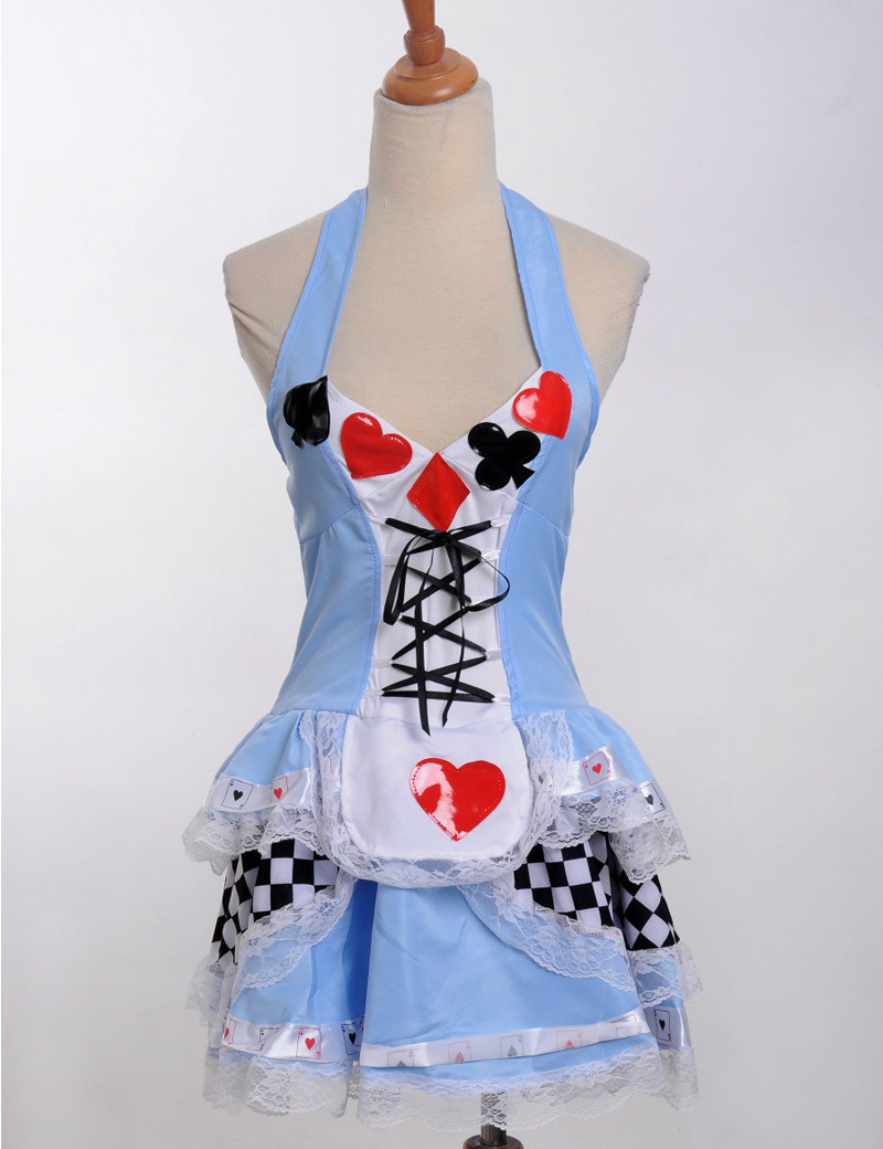MOONIGHT Alice in Wonderland  Princess Cards Poker Maid Dress  costumes Cosplay Halloween Costume Plus size XS S M L XL 3XL  4XL 1