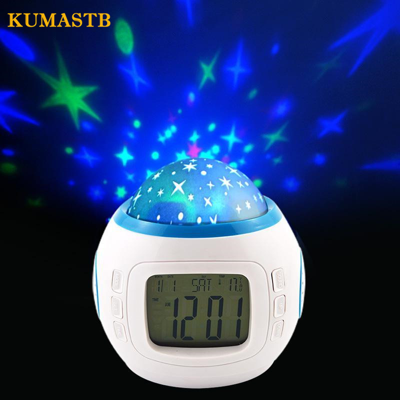 Cartoon Children Room Digital Led Projector Alarm Clocks Calendar Baby Sleeping Sky Star Night Light Music Projector Lamp