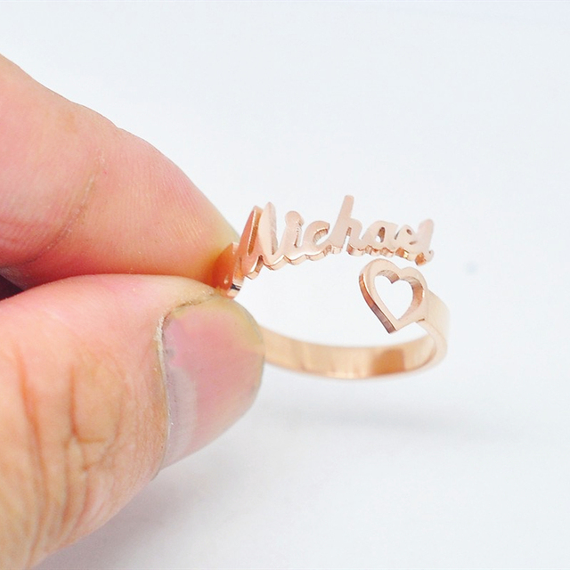 Custom Heart Name Ring Adjustable Size Stainless Steel Rose Gold Personalized Wedding Rings For Women Jewelry Bridesmaid Gifts