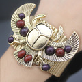 New Egyptian Revival khepri Scarab Beetle Bead Wing Big Bracelet Bangle Cuff Pulseira Masculina Art Deco Jewelry