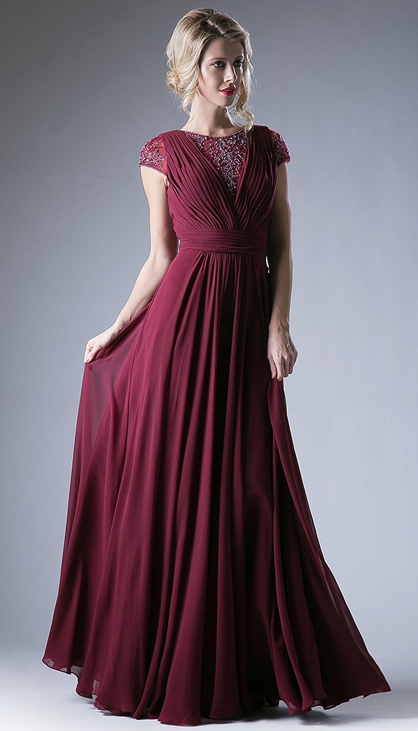 ead87c368f8 2017 Burgundy Modest Bridesmaid Dresses Long Beaded Ruched Chiffon A line  Floor Length Country Maxi Maids of Honor Dress Formal-in Bridesmaid Dresses  from ...