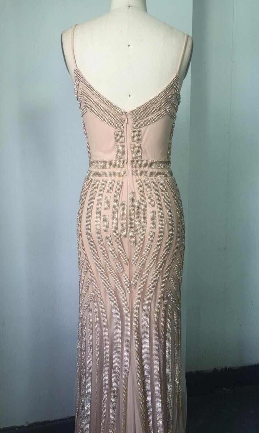 ... In Stock Mermaid Evening Dresses Crystal Beads Formal Party Gowns with Spaghetti  Strap Long robe de 8e52250c850f