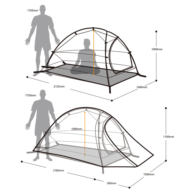NatureHike 1 Person Tent Double Layer Camping For One Man Lightweight 4 Seasons NH15T001 T In Tents From Sports Entertainment On Aliexpress