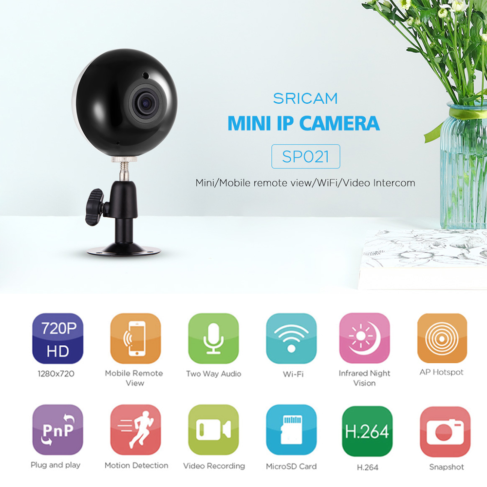 New Arrival ! Sricam SP021 Home Security IR Panoramic Camera Dome Fisheye IP Camera 720P HD 90 Degree Mini WiFi Wireless Camera тепловизор condtrol ir cam2 3 17 021