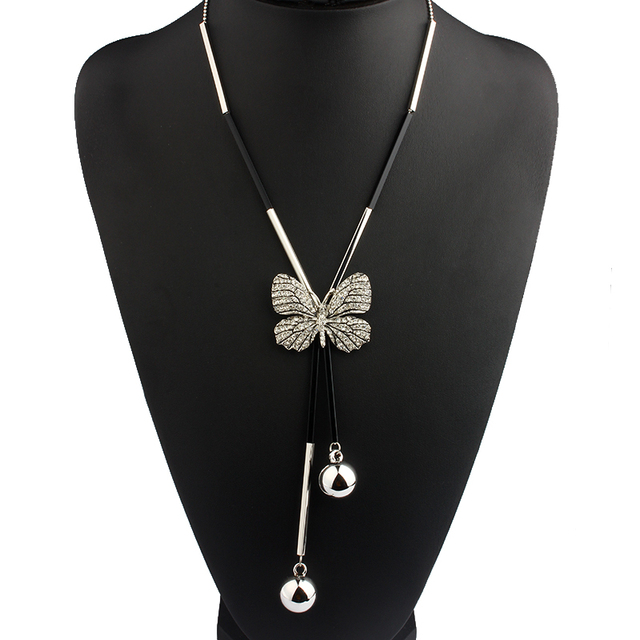 Long Black & Gold Or Silver Necklace With Butterfly Pendant