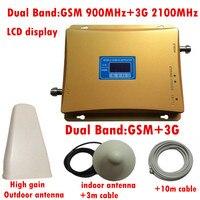 Gsm 3グラムリピータデュアルバンド65dbi 900/2100 mhz携帯信号ブースターgsmリピータでlpda屋外アンテナと天井アンテナ