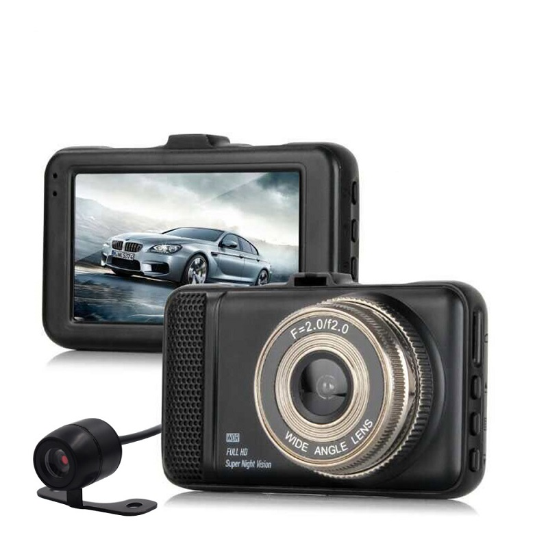 CAR DVR T659 Dual Dvr Camera 1080P Full HD 170 Degree angle 3.0 CAMERA Two Car Camera For Driving Recording Car Detector