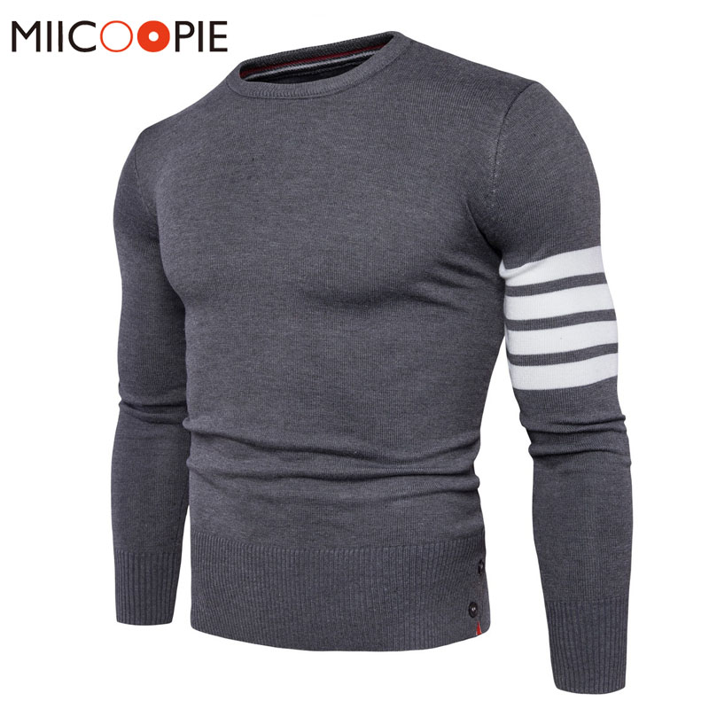 New Autumn Winter Fashion Brand Clothing Mens Sweaters O-Neck Slim Fit Men Stripe Knitting Pullover Cotton Knitted Sweater Men
