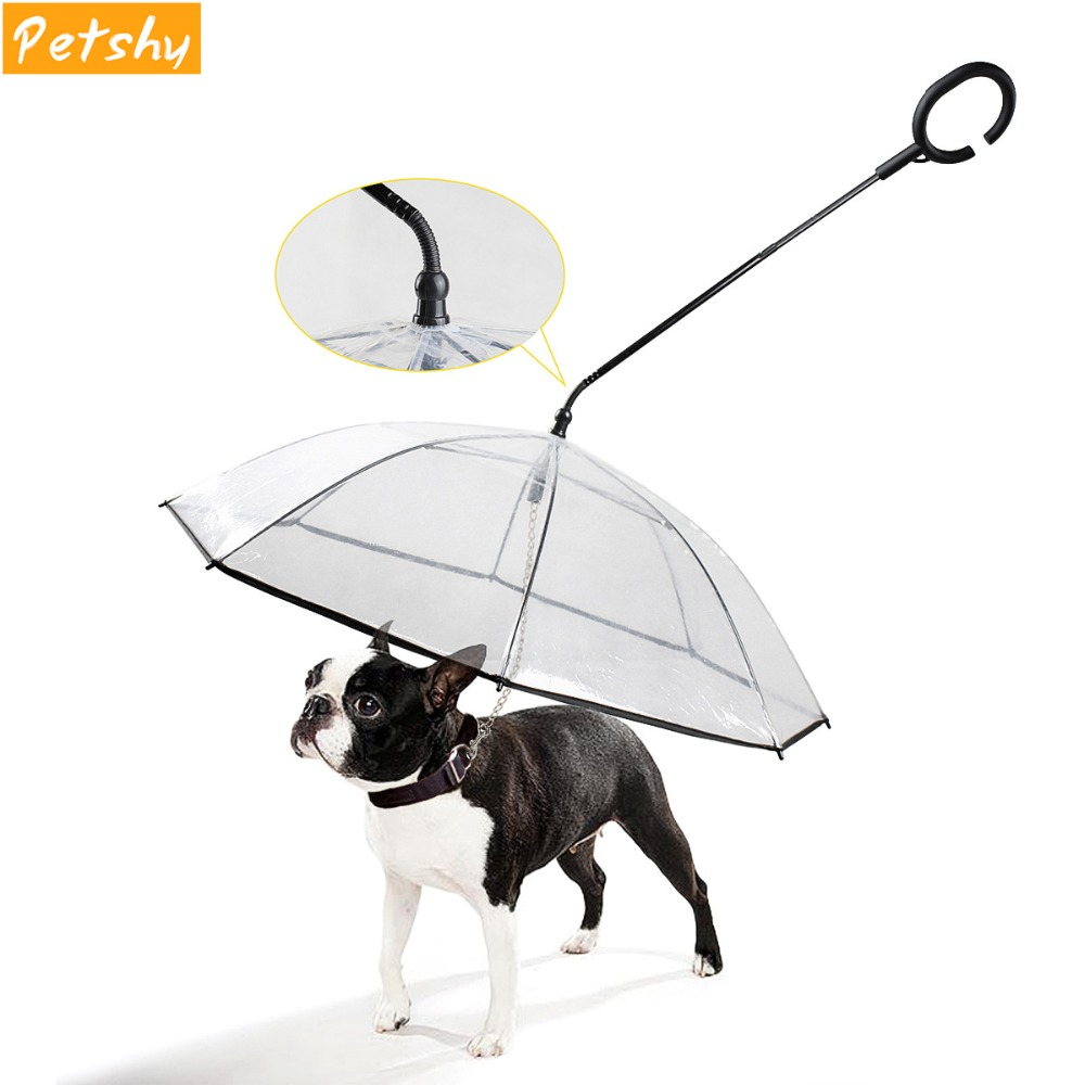 Petshy New Pet Dog Umbrella Transparent Portable Adjustable Rainy Snowing Outdoor Travel Small Dog Cat Umbrella With Pet Leads
