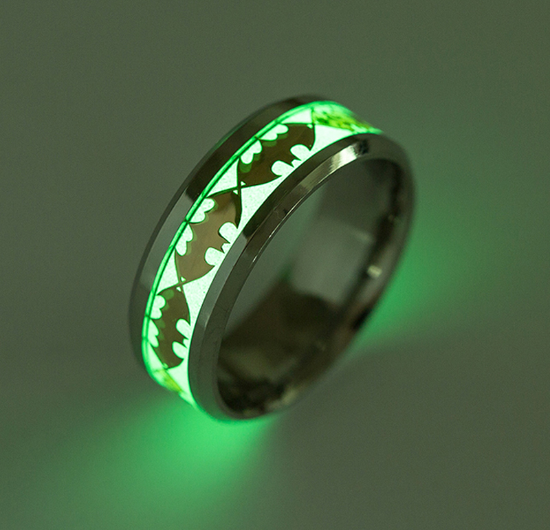 Wholesale Retro Luminous Male Ring Stainless Steel Batman Rings for