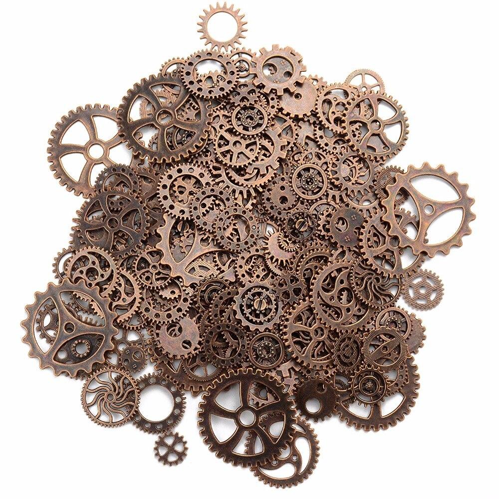 120 Grama Assorted Cor Misturada Do Vintage Steampunk de Metal Jewelry Making Encantos Cog Roda Relógio