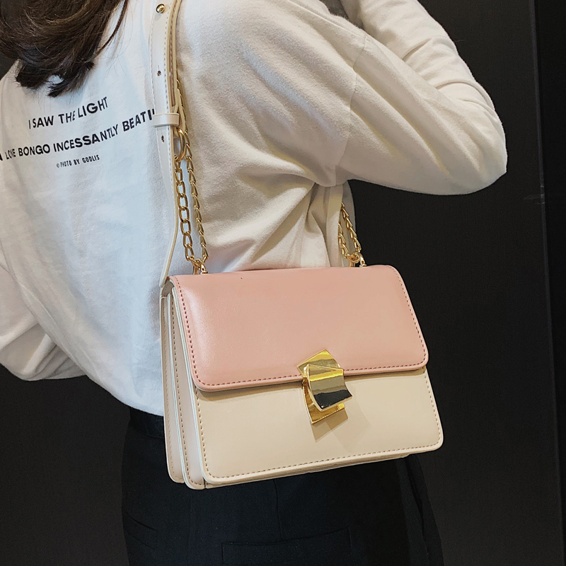 2019 Spring Fashion New Lock Square bag High Quality PU Leather Women's Designer Handbag Sweet Girl Chain Shoulder Messenger bag 1