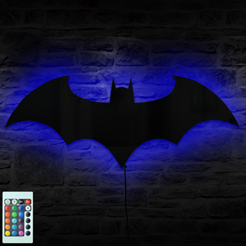 USB Power Supply 7 Color Mirror Batman Remote Control LED Night Light Home Decoration Shadow Projection Wall Lamp Children Gifts 2018 hero batman bat wall night light lampara shadow projection lamp child kids toy gifts warm light sensor contrller multicolor