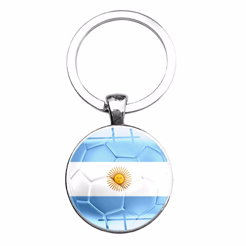 2018 Word Cup National Flag Football Time Jewel Keychain Argentina Croatia Belgium